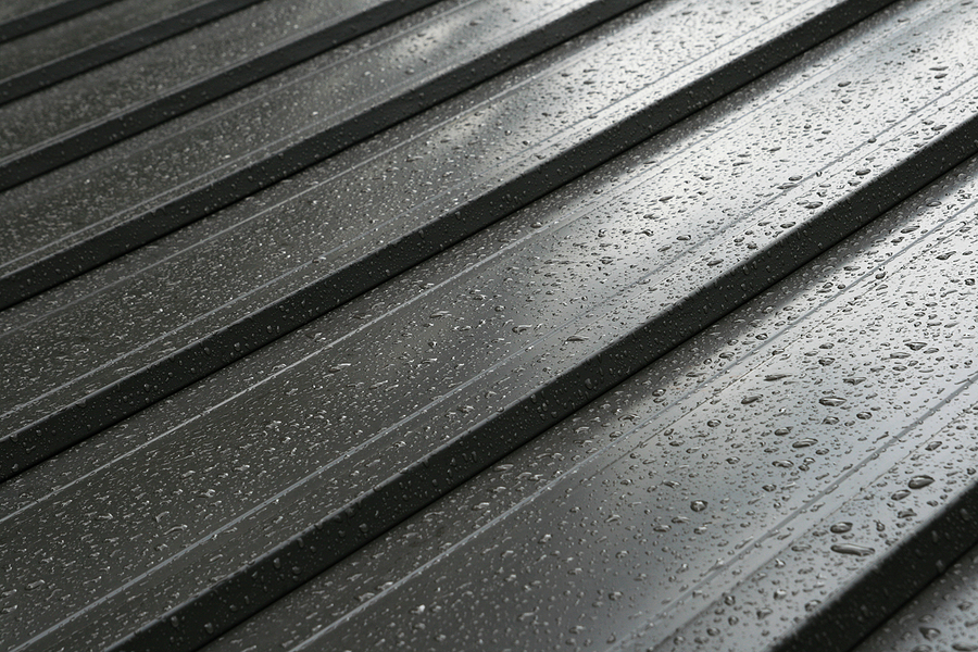 Close up of a metal roof after rain.