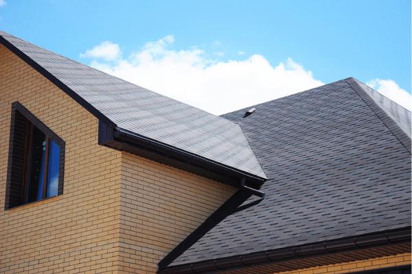 Asphalt shingles house roofing construction.